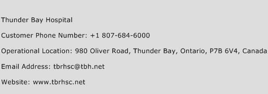 Thunder Bay Hospital Phone Number Customer Service