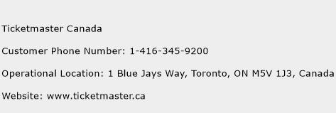 Ticketmaster Canada Phone Number Customer Service