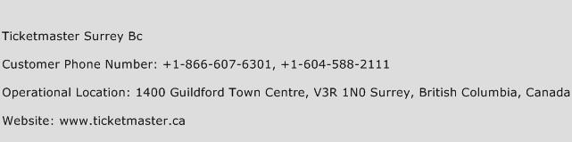 Ticketmaster Surrey BC Phone Number Customer Service
