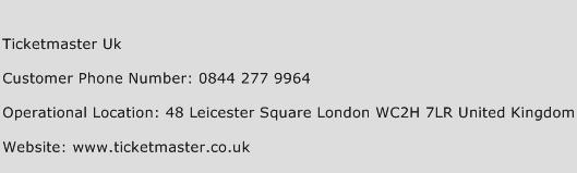 Ticketmaster Uk Phone Number Customer Service