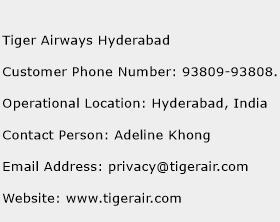 Tiger Airways Hyderabad Phone Number Customer Service