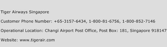 Tiger Airways Singapore Phone Number Customer Service