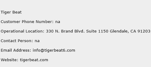 Tiger Beat Phone Number Customer Service