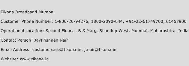 Tikona Broadband Mumbai Phone Number Customer Service