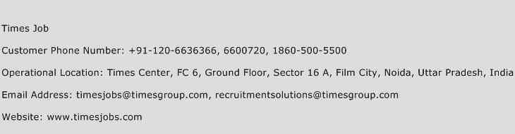Times Job Phone Number Customer Service