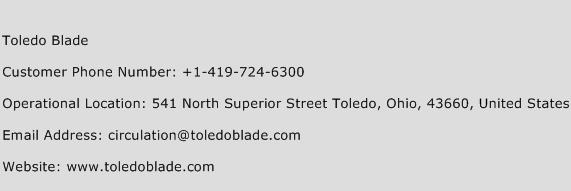 Toledo Blade Phone Number Customer Service