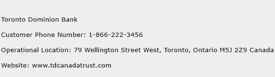Toronto Dominion Bank Customer Service Phone Number | (Toll Free ...