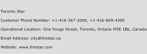 Toronto Star Phone Number Customer Service