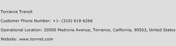 Torrance Transit Phone Number Customer Service