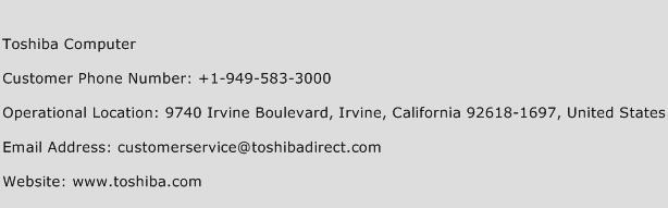 Toshiba Computer Phone Number Customer Service