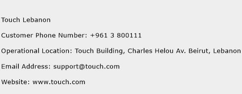 Touch Lebanon Phone Number Customer Service