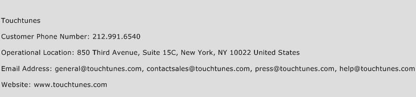 Touchtunes Phone Number Customer Service
