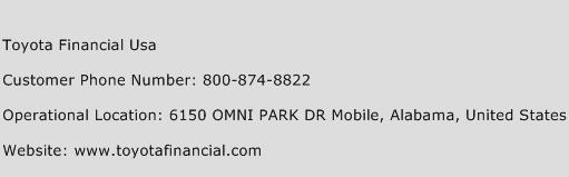Toyota Financial Usa Phone Number Customer Service