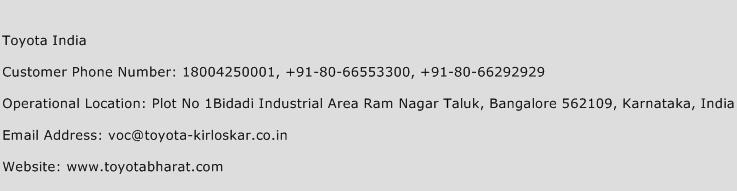 Toyota India Phone Number Customer Service