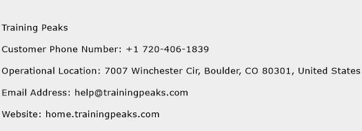 Training Peaks Phone Number Customer Service