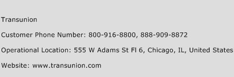 transunion customer service phone number