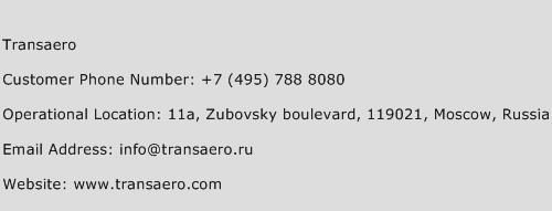 Transaero Phone Number Customer Service