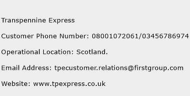 Transpennine Express Phone Number Customer Service