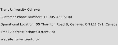 Trent University Oshawa Phone Number Customer Service