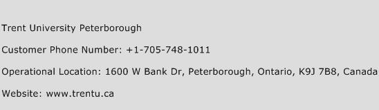 Trent University Peterborough Phone Number Customer Service