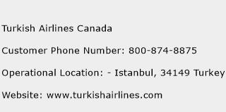 Turkish Airlines Canada Phone Number Customer Service