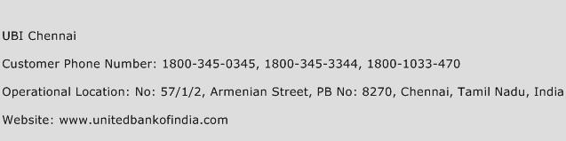 UBI Chennai Phone Number Customer Service