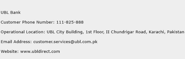 UBL Bank Phone Number Customer Service