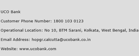UCO Bank Phone Number Customer Service