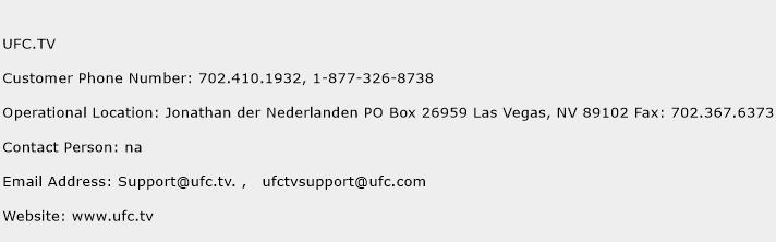 UFC.TV Phone Number Customer Service