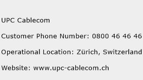 UPC Cablecom Phone Number Customer Service