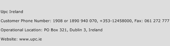 UPC Ireland Phone Number Customer Service