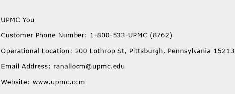UPMC You Phone Number Customer Service