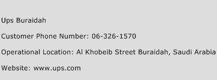 UPS Buraidah Phone Number Customer Service