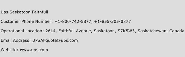 UPS Saskatoon Faithfull Phone Number Customer Service