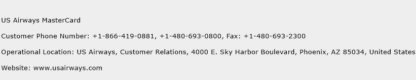 US Airways MasterCard Phone Number Customer Service