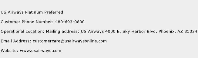 US Airways Platinum Preferred Phone Number Customer Service