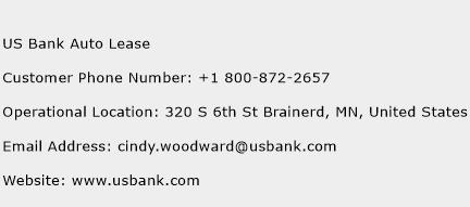 US Bank Auto Lease Phone Number Customer Service