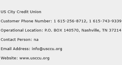 US City Credit Union Phone Number Customer Service
