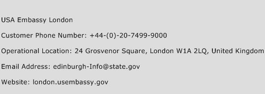 USA Embassy London Phone Number Customer Service