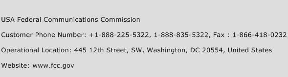 USA Federal Communications Commission Phone Number Customer Service