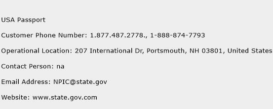 USA Passport Phone Number Customer Service