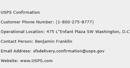 USPS Confirmation Phone Number Customer Service