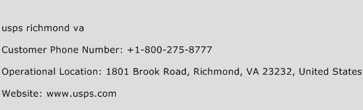 USPS Richmond VA Phone Number Customer Service