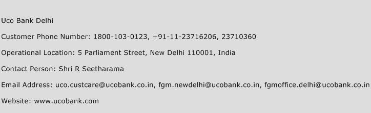 Uco Bank Delhi Phone Number Customer Service