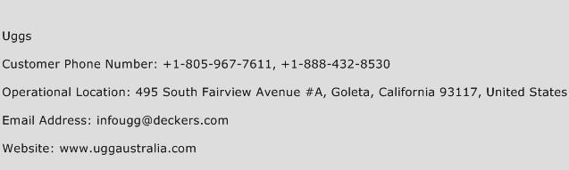 ugg website phone number