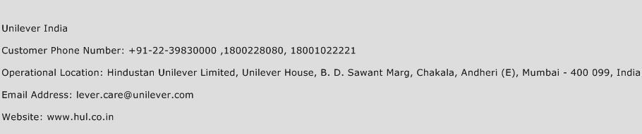Unilever India Phone Number Customer Service