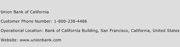 Union Bank of California Phone Number Customer Service
