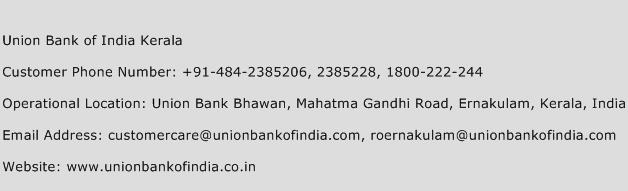 Union Bank of India Kerala Phone Number Customer Service