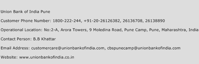 Union Bank of India Pune Phone Number Customer Service