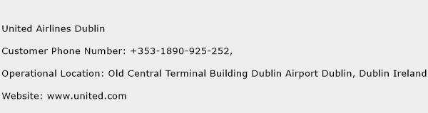 United Airlines Dublin Phone Number Customer Service